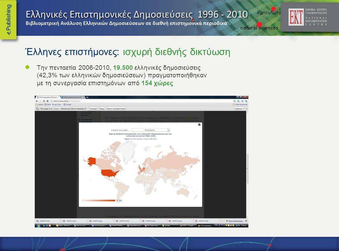 Έλληνες επιστήμονες: ισχυρή διεθνής δικτύωση ● Την πενταετία 2006-2010, 19.500 ελληνικές δημοσιεύσεις (42,3% των ελληνικών δημοσιεύσεων) πραγματοποιήθηκαν με τη συνεργασία επιστημόνων από 154 χώρες