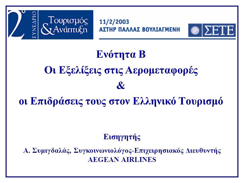 Ενότητα Β Οι Εξελίξεις στις Αερομεταφορές & οι Επιδράσεις τους στον Ελληνικό Tουρισμό Εισηγητής Α. Συμιγδαλάς, Συγκοινωνιολόγος-Επιχειρησιακός Διευθυν