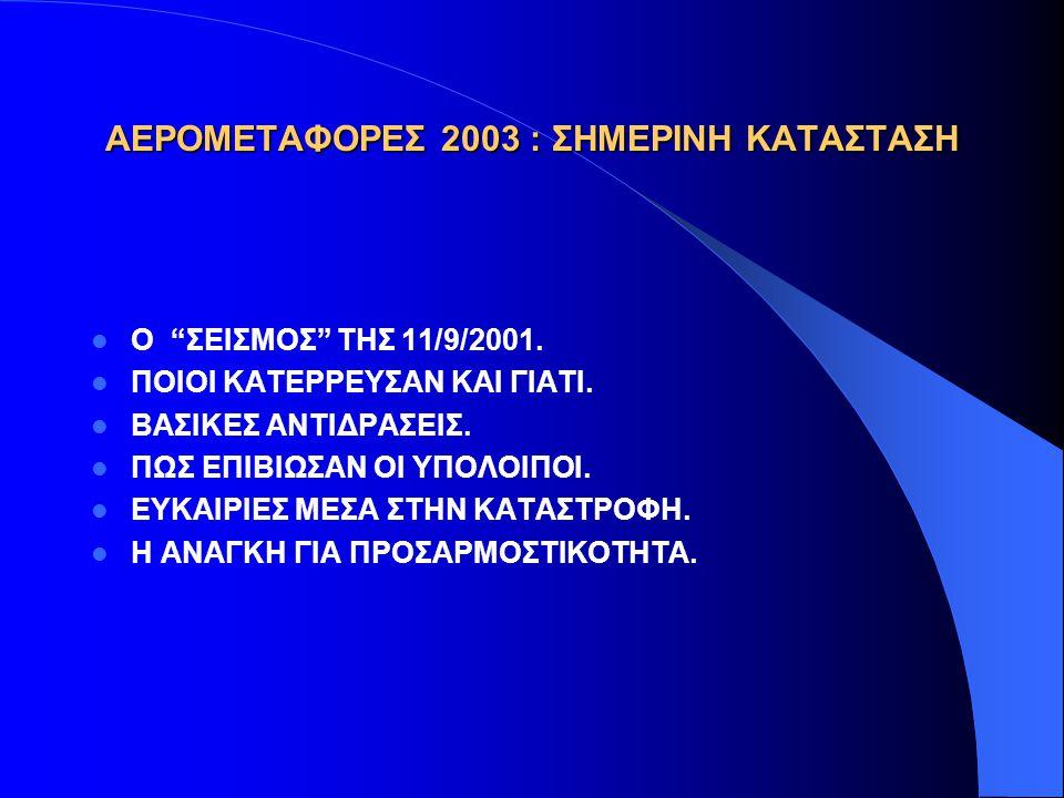 ΑΕΡΟΜΕΤΑΦΟΡΕΣ 2003 : ΥΠΑΡΚΤΟΙ ΚΙΝΔΥΝΟΙ  ΝΕΕΣ ΤΡΟΜΟΚΡΑΤΙΚΕΣ ΕΝΕΡΓΕΙΕΣ  ΠΟΛΕΜΟΣ  ΠΟΛΕΜΟΣ ΔΙΑΡΚΕΙΑΣ  ΟΙΚΟΝΟΜΙΚΗ ΥΦΕΣΗ  ΤΙΜΕΣ ΠΕΤΡΕΛΑΙΟΥ  ΔΙΑΣΤΡΕΒΛΩΣΗ ΕΛΕΥΘΕΡΟΥ ΑΝΤΑΓΩΝΙΣΜΟΥ  ΠΕΡΙΟΡΙΣΜΟΙ ΠΡΟΣΒΑΣΗΣ ΣΕ ΓΡΑΜΜΕΣ/ΔΙΚΤΥΑ  ΕΞΕΛΙΞΗ ΚΟΣΤΟΥΣ ΕΠΙΓΕΙΩΝ ΔΡΑΣΤΗΡΙΟΤΗΤΩΝ