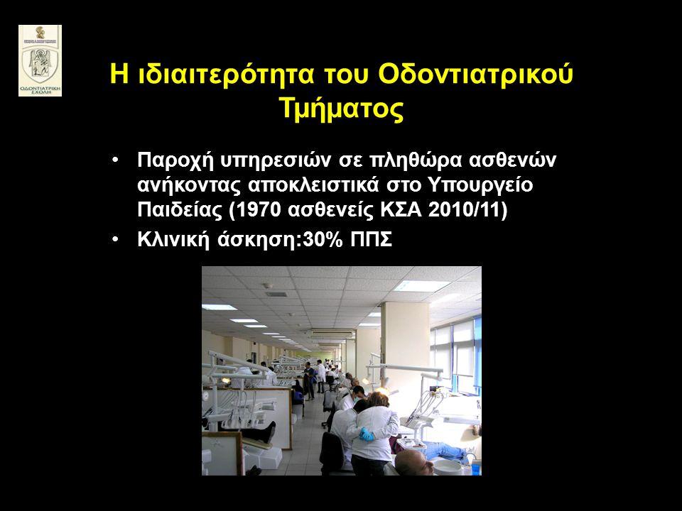H ιδιαιτερότητα του Οδοντιατρικού Τμήματος •Παροχή υπηρεσιών σε πληθώρα ασθενών ανήκοντας αποκλειστικά στο Υπουργείο Παιδείας (1970 ασθενείς ΚΣΑ 2010/11) •Kλινική άσκηση:30% ΠΠΣ