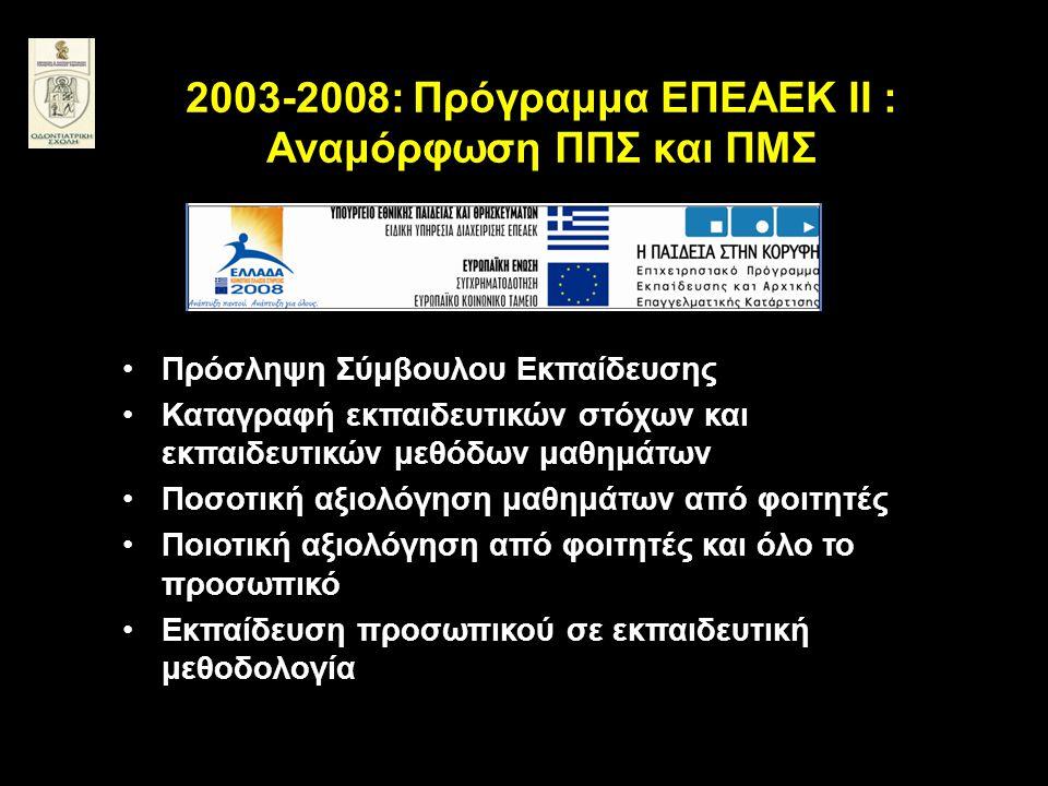 2003-2008: Πρόγραμμα ΕΠΕΑΕΚ ΙΙ : Αναμόρφωση ΠΠΣ και ΠΜΣ •Πρόσληψη Σύμβουλου Εκπαίδευσης •Καταγραφή εκπαιδευτικών στόχων και εκπαιδευτικών μεθόδων μαθη