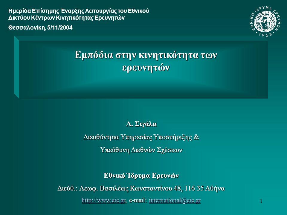 2 Δύο εισαγωγικές επισημάνσεις:  Ο ρόλος του ΕΙΕ ως κόμβου του Ελληνικού Δικτύου Κέντρων Κινητικότητας (με αρμοδιότητα λόγω της γεωγραφικής του θέσης την χαρτογράφηση των φορέων και δημοσίων υπηρεσιών της Αττικής που εμπλέκονται σε θέματα κινητικότητας)  Ο τρόπος με τον οποίο λειτουργεί το Δίκτυο (δημιουργία ομάδων εργασίας με εκπροσώπους από τους κόμβους οι οποίες αναλαμβάνουν συγκεκριμένα αντικείμενα, όπως τα εμπόδια κινητικότητας/Mobstacles) Μία παρατήρηση: Η κινητικότητα σε συνάρτηση με τον αριθμό των ερευνητών είναι δύο από τα βασικά θέματα που μας απασχολούν όταν αναφερόμαστε σε ανθρώπινο δυναμικό.