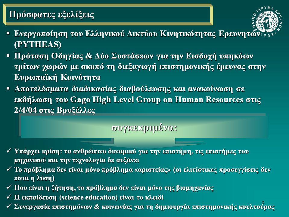 10 Πρόσφατες εξελίξεις (συνέχεια) Η δραστηριοποίηση του Steering group on Human Resources & Mobility της ΕΚ (HRM) σχετικά με:  Τη σύνταξη χάρτη για τους ευρωπαίους ερευνητές και κώδικα για την απασχόλησή τους (η ανάγκη να παραχθεί ένα πλαίσιο που να εξυπηρετεί τους στόχους της Λισσαβόνας, να προσδίδει στους ερευνητές μια οντότητα, να τους εξασφαλίζει την κατοχύρωση βασικών δικαιωμάτων τους ως ξεχωριστής κατηγορίας επαγγελματιών κλπ)  Την καταγραφή προβλημάτων κοινωνικής ασφάλειας και φορολόγησης στο πλαίσιο ενός μεγαλύτερου εγχειρήματος της Ευρωπαϊκής Επιτροπής (αποστολή ερωτηματολογίου στους αρμόδιους Εθνικούς Φορείς), τα προβλήματα που βάζει ως προς την κινητικότητα η εφαρμογή των ισχυουσών νομοθεσιών και πρακτικών  Την καταγραφή της διατομεακής κινητικότητας (intersectorial mobility) πράγμα που παραπέμπει: Σε μια εθνική διαδικασία διαβούλευσης με συμμετοχή όλων των «παικτών» (stakeholders)