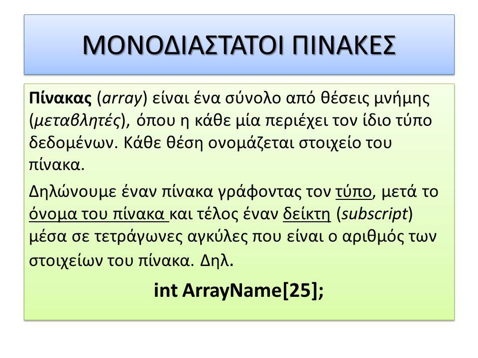 ΜΟΝΟΔΙΑΣΤΑΤΟΙ ΠΙΝΑΚΕΣ Πίνακας (array) είναι ένα σύνολο από θέσεις μνήμης (μεταβλητές), όπου η κάθε μία περιέχει τον ίδιο τύπο δεδομένων. Κάθε θέση ονο