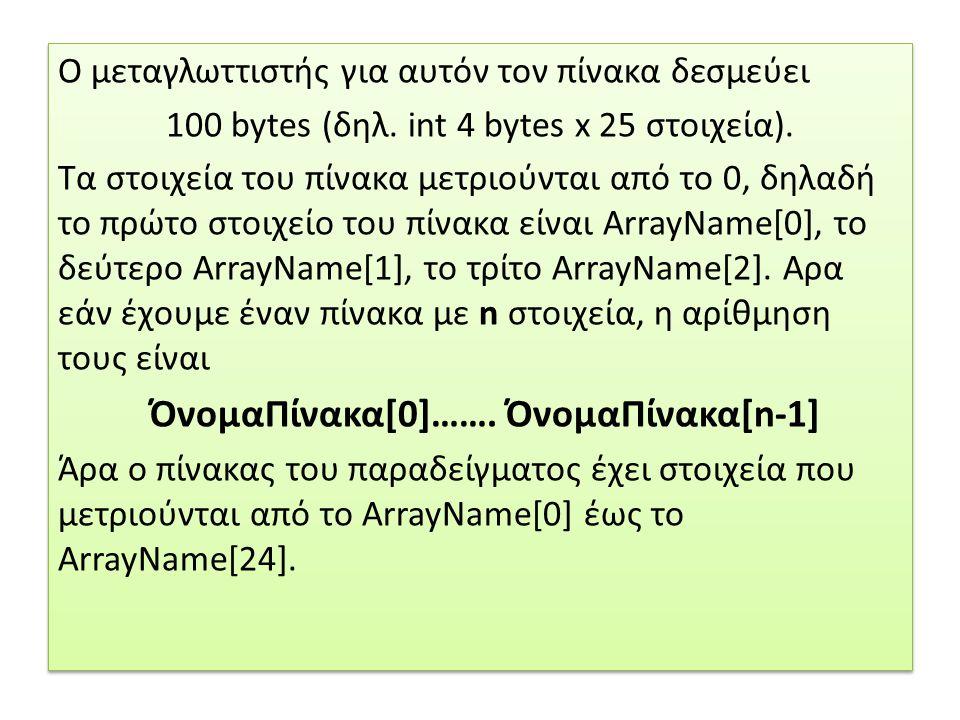 Ο μεταγλωττιστής για αυτόν τον πίνακα δεσμεύει 100 bytes (δηλ. int 4 bytes x 25 στοιχεία). Τα στοιχεία του πίνακα μετριούνται από το 0, δηλαδή το πρώτ