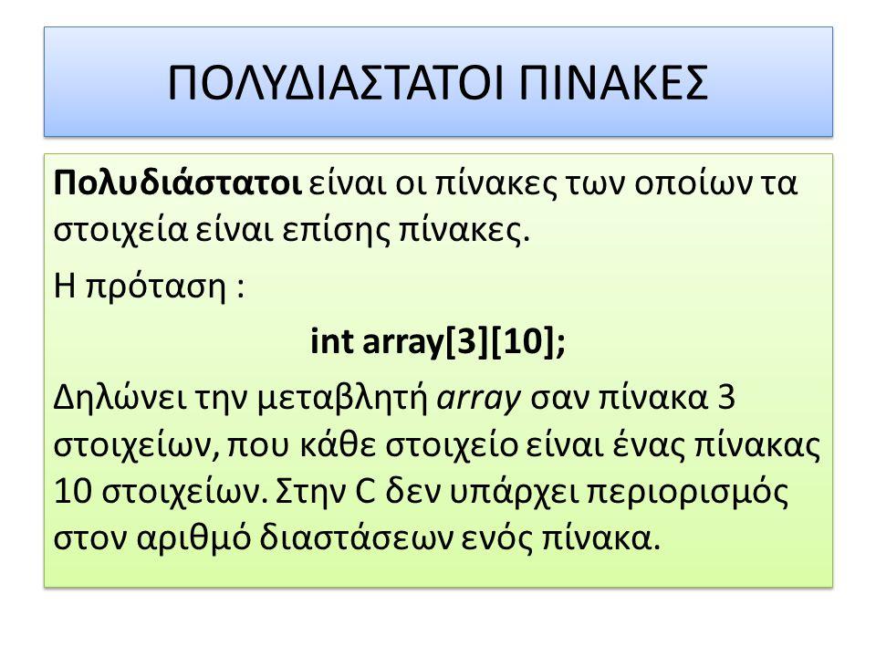 ΠΟΛΥΔΙΑΣΤΑΤΟΙ ΠΙΝΑΚΕΣ Πολυδιάστατοι είναι οι πίνακες των οποίων τα στοιχεία είναι επίσης πίνακες. Η πρόταση : int array[3][10]; Δηλώνει την μεταβλητή