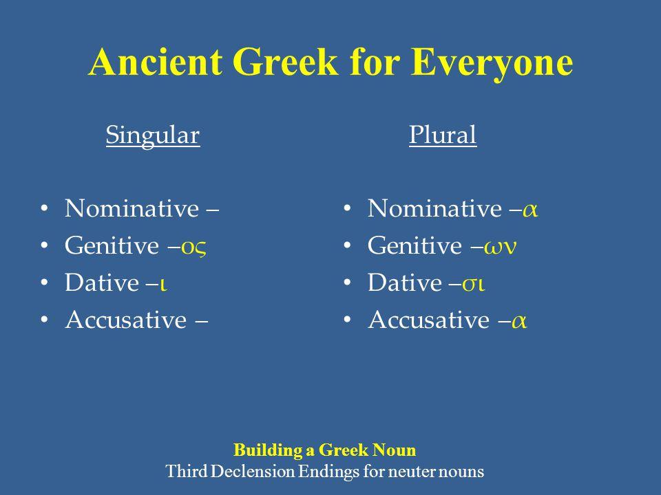 Ancient Greek for Everyone Singular • Nominative – • Genitive –ος • Dative –ι • Accusative – Plural • Nominative –α • Genitive –ων • Dative –σι • Accu