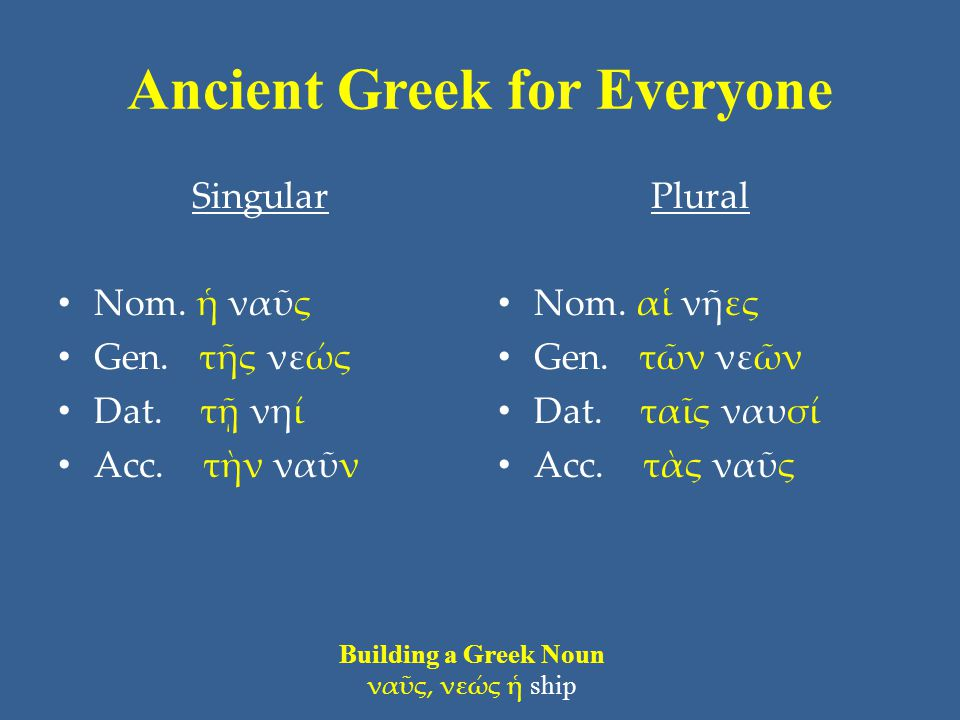 Ancient Greek for Everyone Singular • Nom. ἡ ναῦς • Gen.