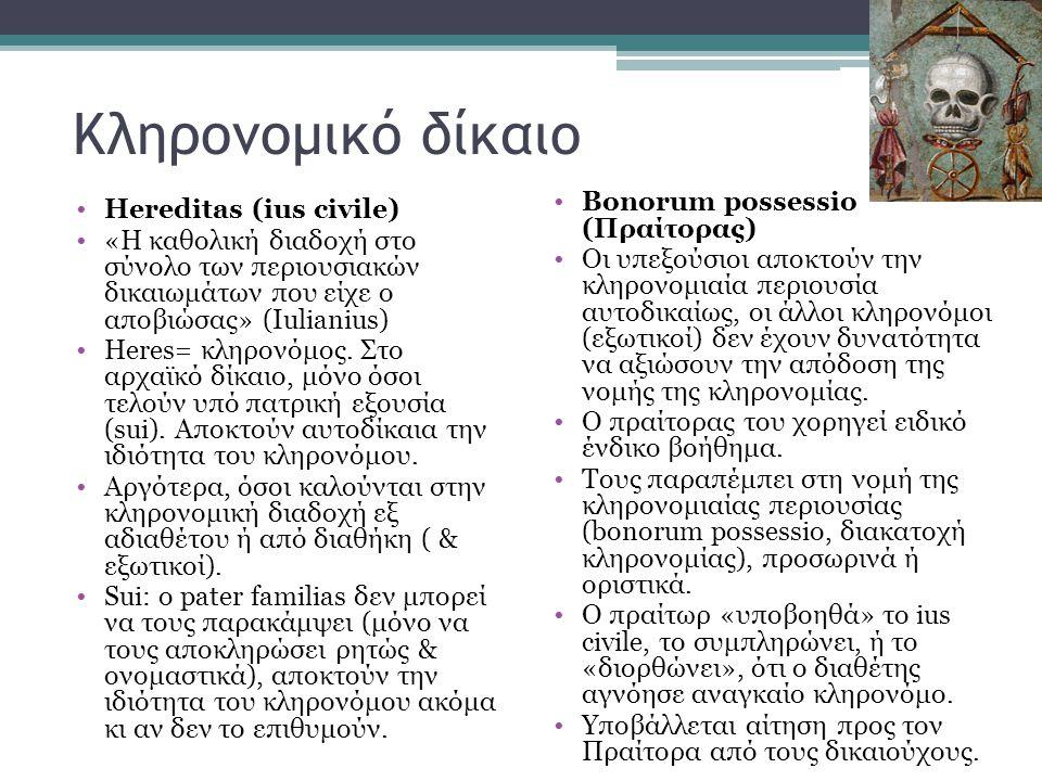 Κληρονομικό δίκαιο •Ηereditas (ius civile) •«H καθολική διαδοχή στο σύνολο των περιουσιακών δικαιωμάτων που είχε ο αποβιώσας» (Ιulianius) •Heres= κληρ