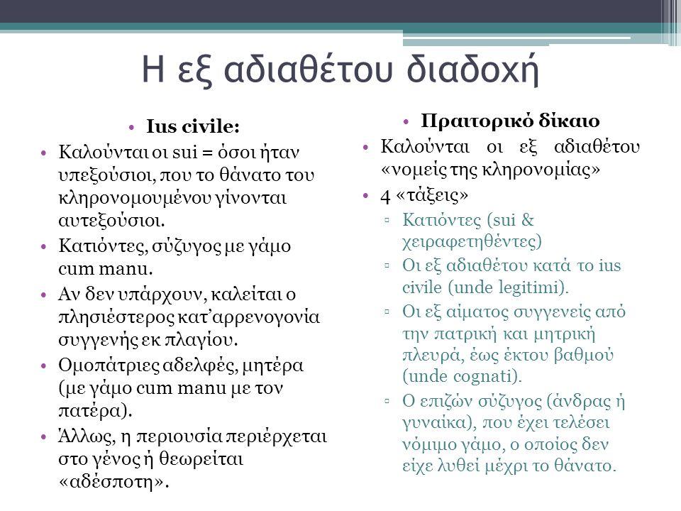 Η εξ αδιαθέτου διαδοχή •Ιus civile: •Καλούνται οι sui = όσοι ήταν υπεξούσιοι, που το θάνατο του κληρονομουμένου γίνονται αυτεξούσιοι. •Κατιόντες, σύζυ
