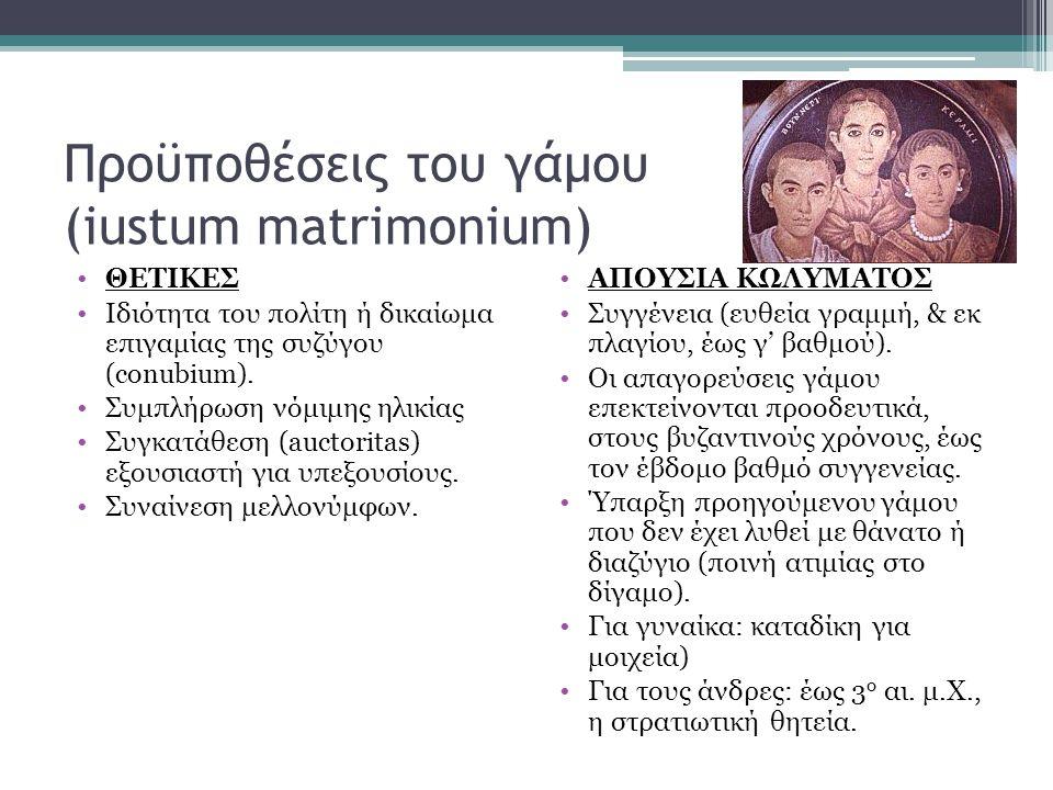 Προϋποθέσεις του γάμου (iustum matrimonium) •ΘΕΤΙΚΕΣ •Ιδιότητα του πολίτη ή δικαίωμα επιγαμίας της συζύγου (conubium). •Συμπλήρωση νόμιμης ηλικίας •Συ