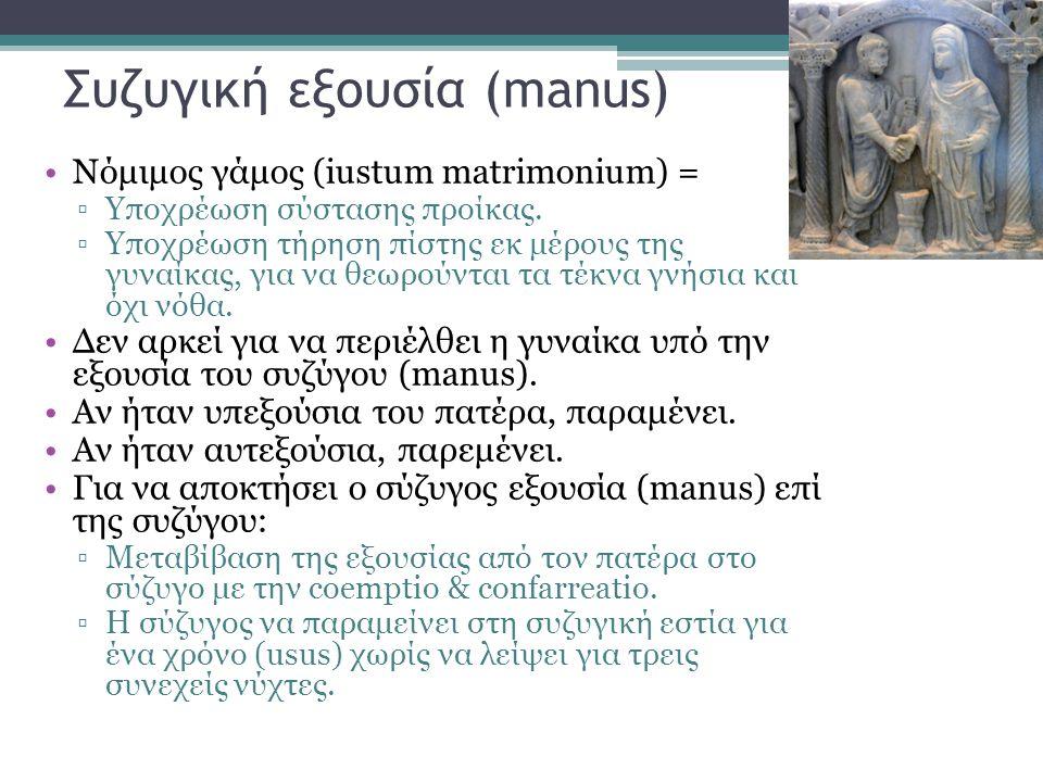 Συζυγική εξουσία (manus) •Nόμιμος γάμος (iustum matrimonium) = ▫Υποχρέωση σύστασης προίκας. ▫Υποχρέωση τήρηση πίστης εκ μέρους της γυναίκας, για να θε