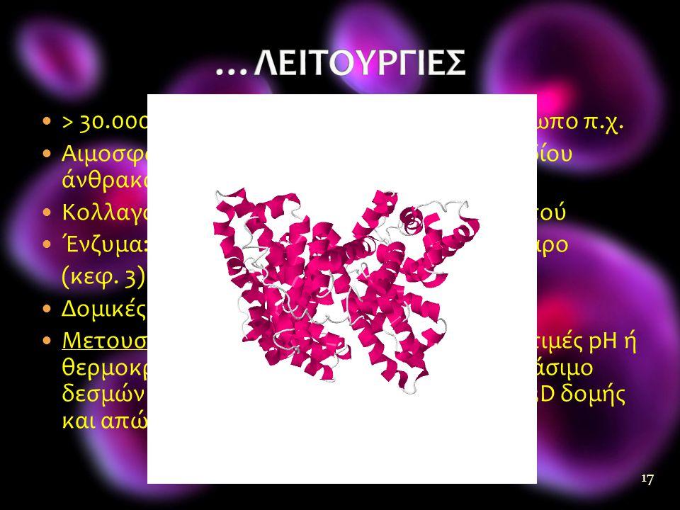  > 30.000 διαφορετικές πρωτεΐνες στον άνθρωπο π.χ.