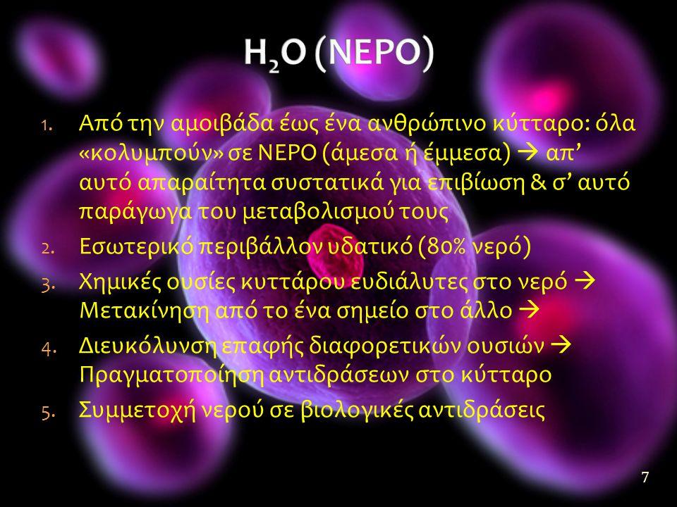 1. Από την αμοιβάδα έως ένα ανθρώπινο κύτταρο: όλα «κολυμπούν» σε ΝΕΡΟ (άμεσα ή έμμεσα)  απ' αυτό απαραίτητα συστατικά για επιβίωση & σ' αυτό παράγωγ