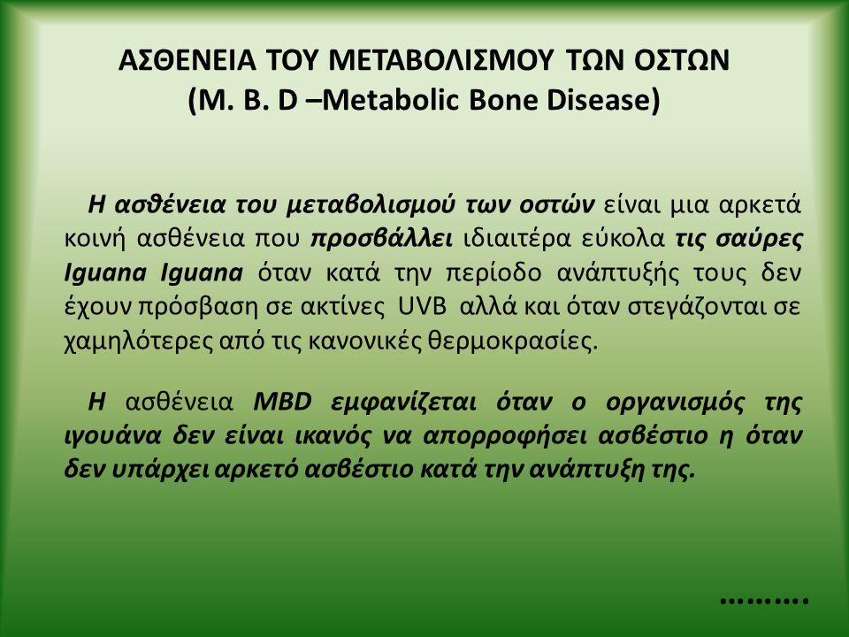 ΑΣΘΕΝΕΙΑ ΤΟΥ ΜΕΤΑΒΟΛΙΣΜΟΥ ΤΩΝ ΟΣΤΩΝ (M. B. D –Metabolic Bone Disease) Η ασθένεια του μεταβολισμού των οστών είναι μια αρκετά κοινή ασθένεια που προσβά