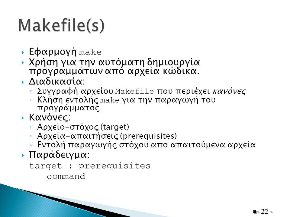  Eφαρμογή make  Xρήση για την αυτόματη δημιουργία προγραμμάτων από αρχεία κώδικα.  Διαδικασία: ◦ Συγγραφή αρχείου Makefile που περιέχει κανόνες ◦ Κ