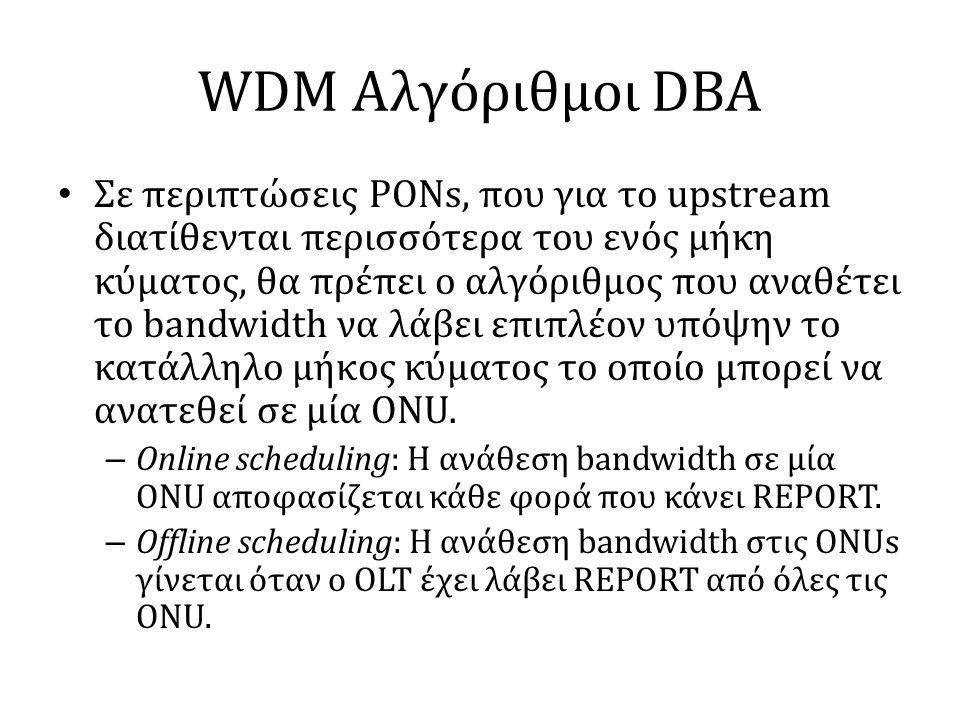 WDM Αλγόριθμοι DBA • Σε περιπτώσεις PONs, που για το upstream διατίθενται περισσότερα του ενός μήκη κύματος, θα πρέπει ο αλγόριθμος που αναθέτει το bandwidth να λάβει επιπλέον υπόψην το κατάλληλο μήκος κύματος το οποίο μπορεί να ανατεθεί σε μία ONU.