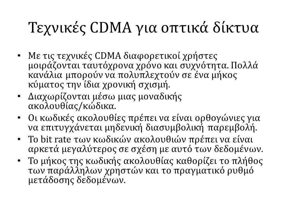 Τεχνικές CDMA για οπτικά δίκτυα • Με τις τεχνικές CDMA διαφορετικοί χρήστες μοιράζονται ταυτόχρονα χρόνο και συχνότητα. Πολλά κανάλια μπορούν να πολυπ