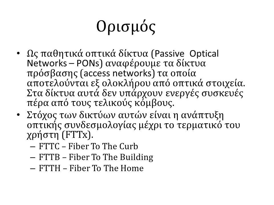 Ορισμός • Ως παθητικά οπτικά δίκτυα ( Passive Optical Networks – PONs ) αναφέρουμε τα δίκτυα πρόσβασης ( access networks ) τα οποία αποτελούνται εξ ολοκλήρου από οπτικά στοιχεία.