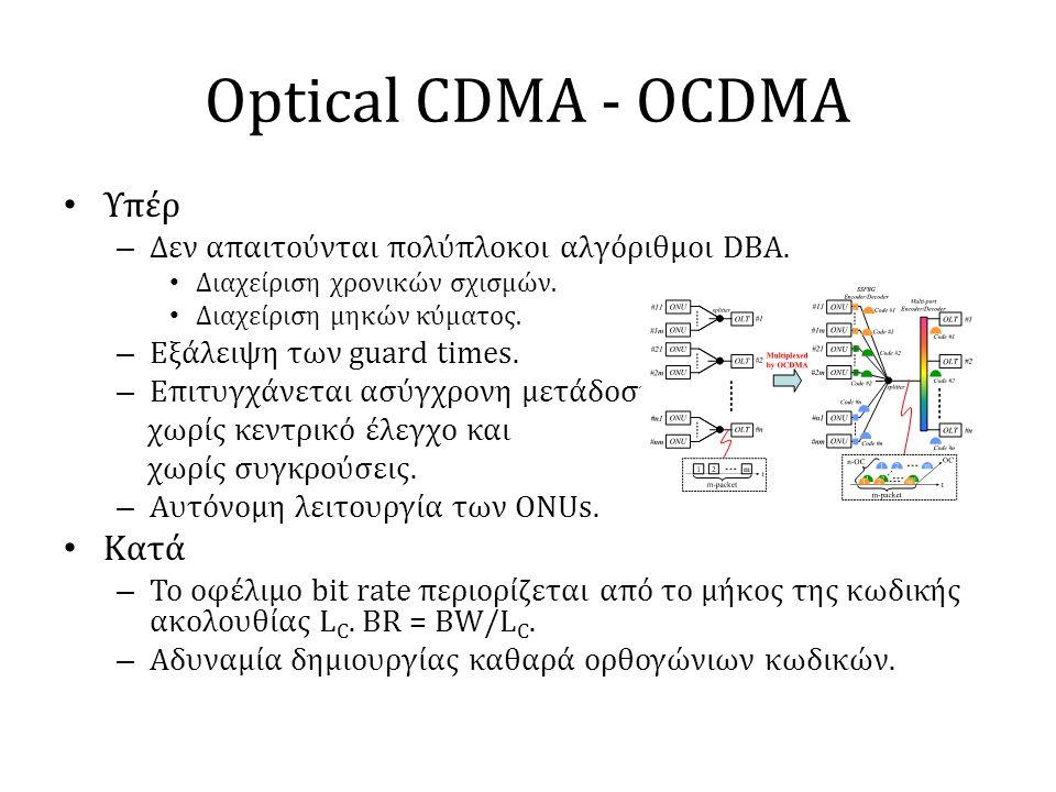 Optical CDMA - OCDMA • Υπέρ – Δεν απαιτούνται πολύπλοκοι αλγόριθμοι DBA. • Διαχείριση χρονικών σχισμών. • Διαχείριση μηκών κύματος. – Εξάλειψη των gua