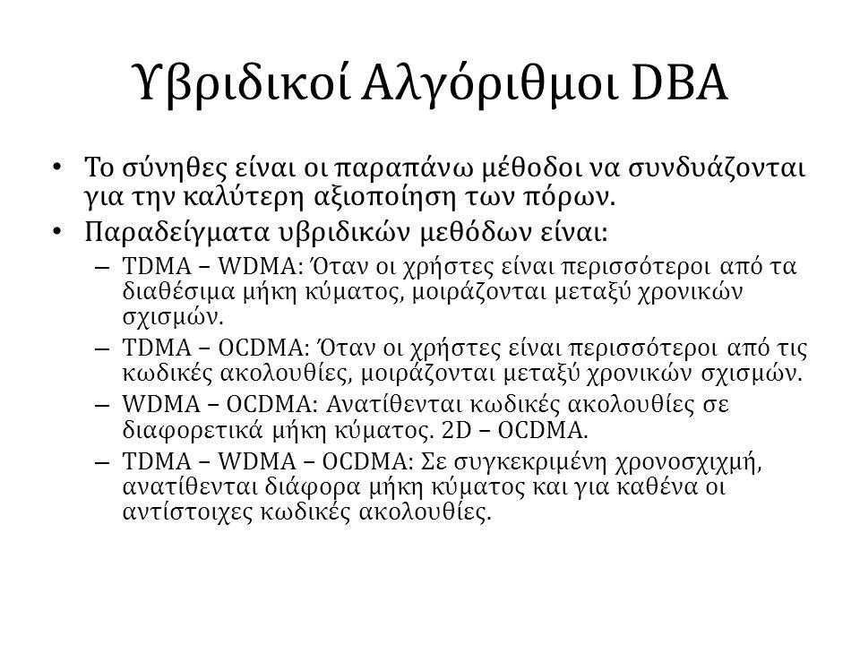 Υβριδικοί Αλγόριθμοι DBA • Το σύνηθες είναι οι παραπάνω μέθοδοι να συνδυάζονται για την καλύτερη αξιοποίηση των πόρων. • Παραδείγματα υβριδικών μεθόδω