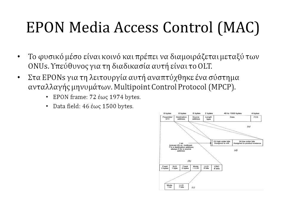 EPON Media Access Control (MAC) • Το φυσικό μέσο είναι κοινό και πρέπει να διαμοιράζεται μεταξύ των ONUs. Υπεύθυνος για τη διαδικασία αυτή είναι το OL