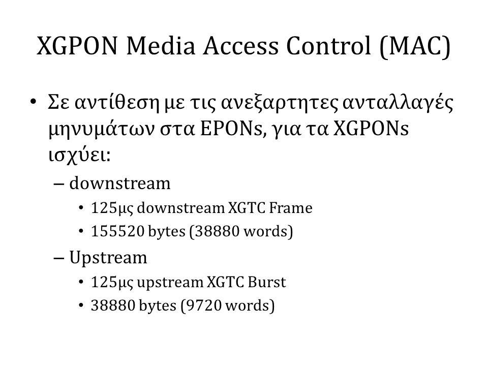XGPON Media Access Control (MAC) • Σε αντίθεση με τις ανεξαρτητες ανταλλαγές μηνυμάτων στα EPONs, για τα XGPONs ισχύει: – downstream • 125μς downstream XGTC Frame • 155520 bytes (38880 words) – Upstream • 125μς upstream XGTC Burst • 38880 bytes (9720 words)