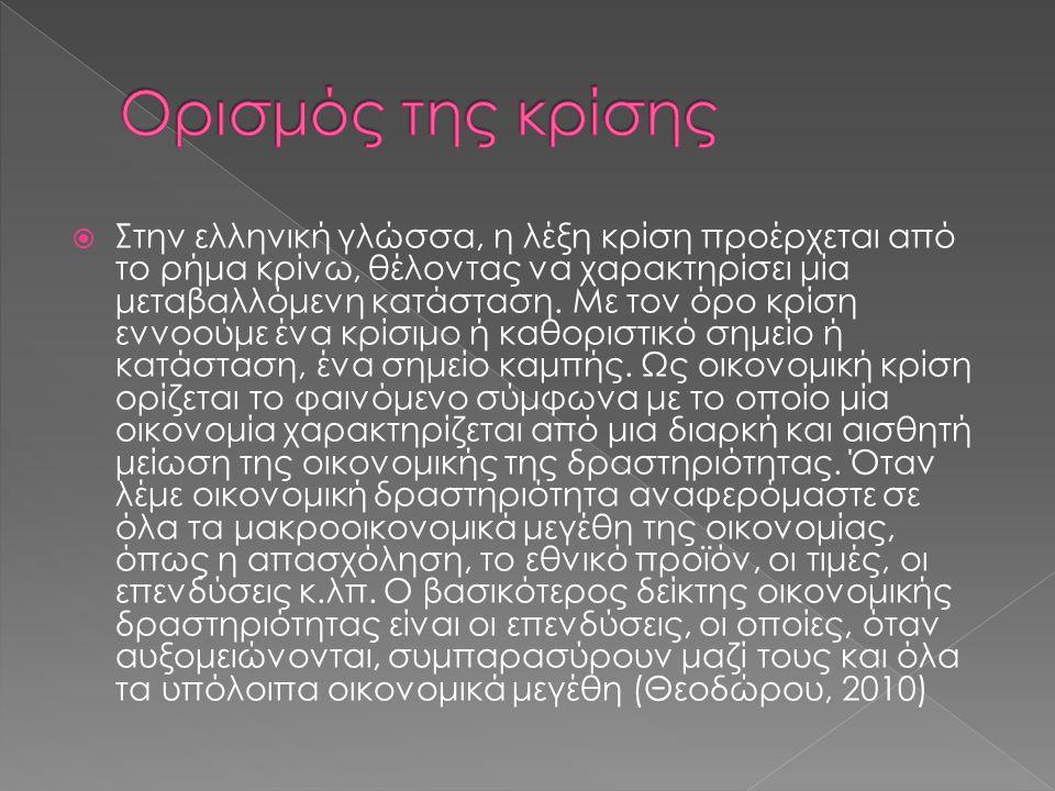  Στην ελληνική γλώσσα, η λέξη κρίση προέρχεται από το ρήμα κρίνω, θέλοντας να χαρακτηρίσει μία μεταβαλλόμενη κατάσταση.