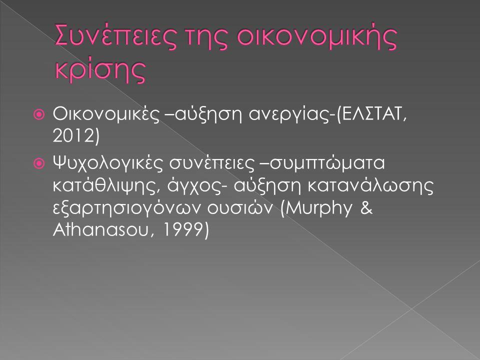  Οικονομικές –αύξηση ανεργίας-(ΕΛΣΤΑΤ, 2012)  Ψυχολογικές συνέπειες –συμπτώματα κατάθλιψης, άγχος- αύξηση κατανάλωσης εξαρτησιογόνων ουσιών (Murphy & Athanasou, 1999)