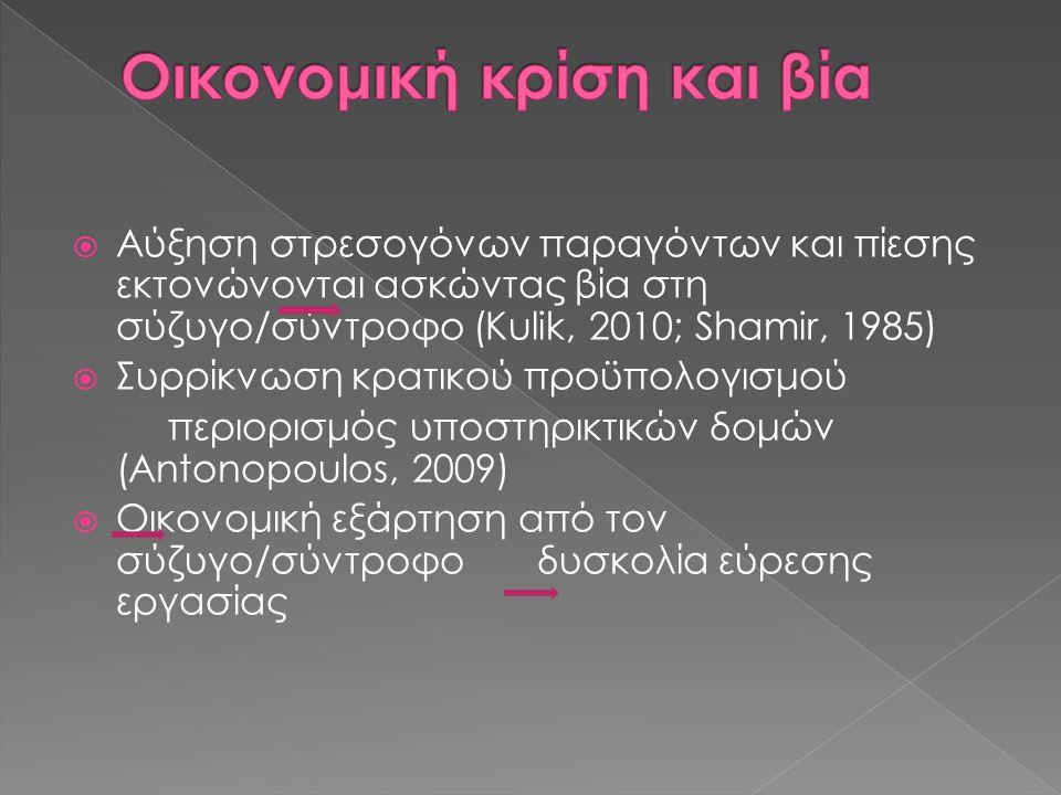  Αύξηση στρεσογόνων παραγόντων και πίεσης εκτονώνονται ασκώντας βία στη σύζυγο/σύντροφο (Kulik, 2010; Shamir, 1985)  Συρρίκνωση κρατικού προϋπολογισμού περιορισμός υποστηρικτικών δομών (Antonopoulos, 2009)  Οικονομική εξάρτηση από τον σύζυγο/σύντροφο δυσκολία εύρεσης εργασίας