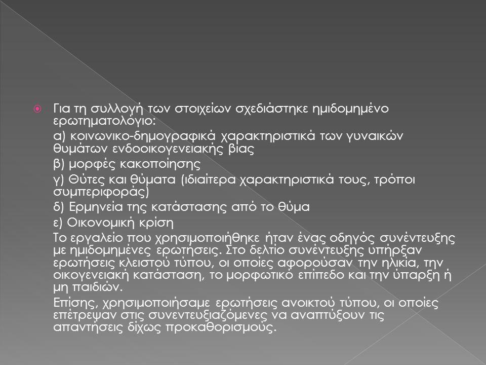  Για τη συλλογή των στοιχείων σχεδιάστηκε ημιδομημένο ερωτηματολόγιο: α) κοινωνικο-δημογραφικά χαρακτηριστικά των γυναικών θυμάτων ενδοοικογενειακής βίας β) μορφές κακοποίησης γ) Θύτες και θύματα (ιδιαίτερα χαρακτηριστικά τους, τρόποι συμπεριφοράς) δ) Ερμηνεία της κατάστασης από το θύμα ε) Οικονομική κρίση Το εργαλείο που χρησιμοποιήθηκε ήταν ένας οδηγός συνέντευξης με ημιδομημένες ερωτήσεις.