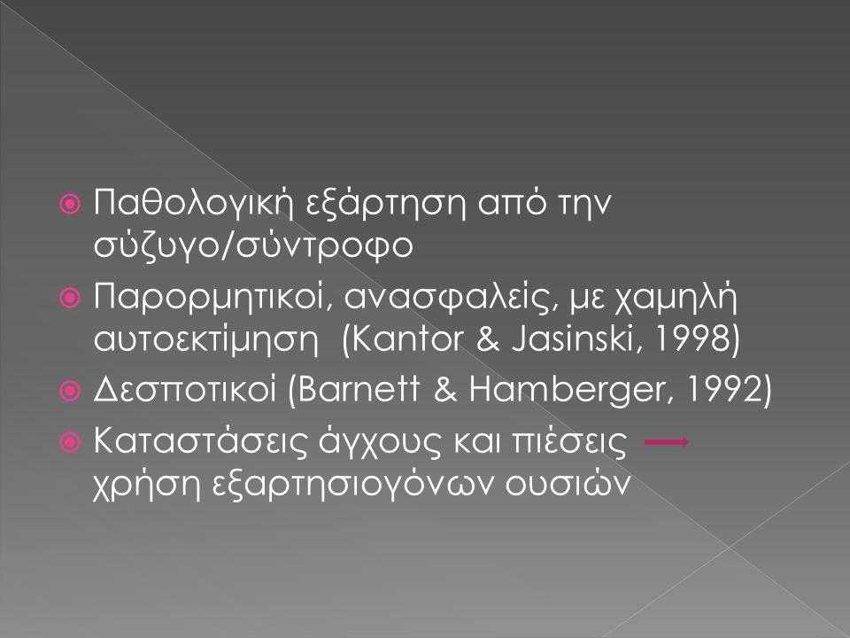  Παθολογική εξάρτηση από την σύζυγο/σύντροφο  Παρορμητικοί, ανασφαλείς, με χαμηλή αυτοεκτίμηση (Kantor & Jasinski, 1998)  Δεσποτικοί (Barnett & Hamberger, 1992)  Καταστάσεις άγχους και πιέσεις χρήση εξαρτησιογόνων ουσιών