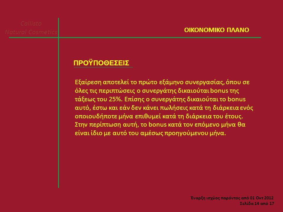 Callisto Natural Cosmetics Σελίδα 14 από 17 ΠΡΟΫΠΟΘΕΣΕΙΣ Εξαίρεση αποτελεί το πρώτο εξάμηνο συνεργασίας, όπου σε όλες τις περιπτώσεις ο συνεργάτης δικαιούται bonus της τάξεως του 25%.