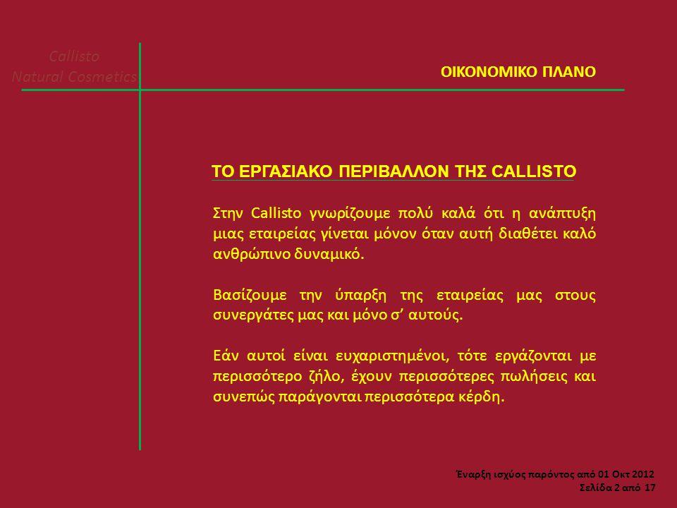 Callisto Natural Cosmetics Σελίδα 13 από 17 ΠΡΟΫΠΟΘΕΣΕΙΣ Επειδή θέλουμε όλους τους συνεργάτες μας ενεργούς, το bonus 25% επί του κέρδους των συνεργατών (όπως αναλυτικά φαίνεται στο παράδειγμα του 2 ου τρόπου) δικαιούνται όσοι συνεργάτες κάνουν μηνιαίες προσωπικές πωλήσεις λιανικής τιμής μεγαλύτερης από 60 ευρώ.