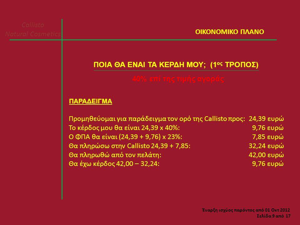 Callisto Natural Cosmetics Σελίδα 9 από 17 ΠΟΙΑ ΘΑ ΕΝΑΙ ΤΑ ΚΕΡΔΗ ΜΟΥ; (1 ος ΤΡΟΠΟΣ) 40% επί της τιμής αγοράς ΠΑΡΑΔΕΙΓΜΑ Προμηθεύομαι για παράδειγμα τον ορό της Callisto προς:24,39 ευρώ Το κέρδος μου θα είναι 24,39 x 40%: 9,76 ευρώ Ο ΦΠΑ θα είναι (24,39 + 9,76) x 23%: 7,85 ευρώ Θα πληρώσω στην Callisto 24,39 + 7,85:32,24 ευρώ Θα πληρωθώ από τον πελάτη:42,00 ευρώ Θα έχω κέρδος 42,00 – 32,24: 9,76 ευρώ ΟΙΚΟΝΟΜΙΚΟ ΠΛΑΝΟ Έναρξη ισχύος παρόντος από 01 Οκτ 2012
