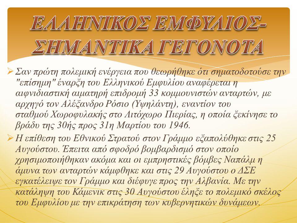  Σαν πρώτη πολεμική ενέργεια που θεωρήθηκε ότι σηματοδοτούσε την επίσημη έναρξη του Ελληνικού Εμφυλίου αναφέρεται η αιφνιδιαστική αιματηρή επιδρομή 33 κομμουνιστών ανταρτών, με αρχηγό τον Αλέξανδρο Ρόσιο (Υψηλάντη), εναντίον του σταθμού Χωροφυλακής στο Λιτόχωρο Πιερίας, η οποία ξεκίνησε το βράδυ της 30ής προς 31η Μαρτίου του 1946.
