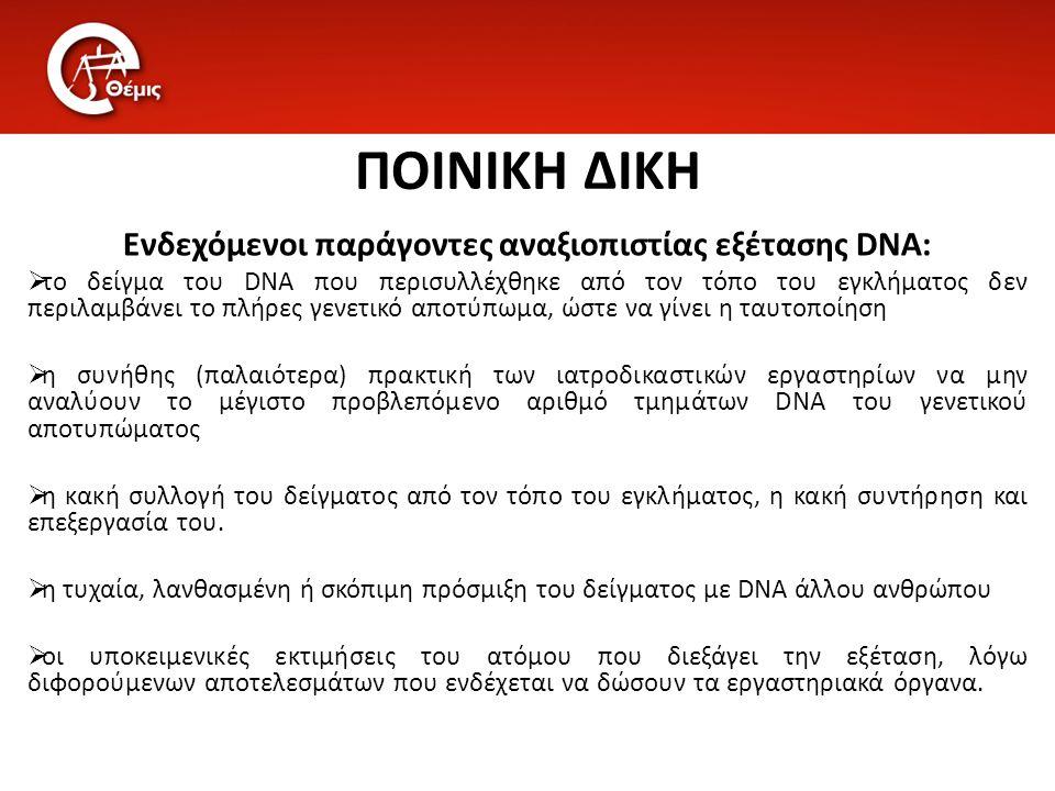 ΠΟΙΝΙΚΗ ΔΙΚΗ Ενδεχόμενοι παράγοντες αναξιοπιστίας εξέτασης DNA:  το δείγμα του DNA που περισυλλέχθηκε από τον τόπο του εγκλήματος δεν περιλαμβάνει το