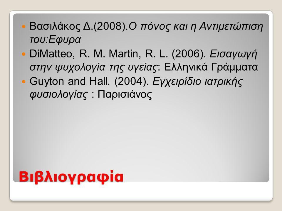 Βιβλιογραφία  Βασιλάκος Δ.(2008).Ο πόνος και η Αντιμετώπιση του:Εφυρα  DiMatteo, R.