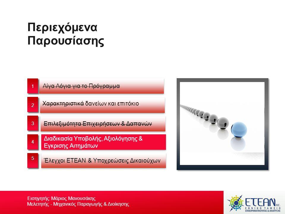 Περιεχόμενα Παρουσίασης Επιλεξιμότητα Επιχειρήσεων & Δαπανών Διαδικασία Υποβολής, Αξιολόγησης & Εγκρισης Αιτημάτων Έλεγχοι ΕΤΕΑΝ & Υποχρεώσεις Δικαιού