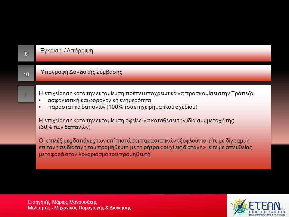 Έγκριση / Απόρριψη Η επιχείρηση κατά την εκταμίευση πρέπει υποχρεωτικά να προσκομίσει στην Τράπεζα: •ασφαλιστική και φορολογική ενημερότητα •παραστατι