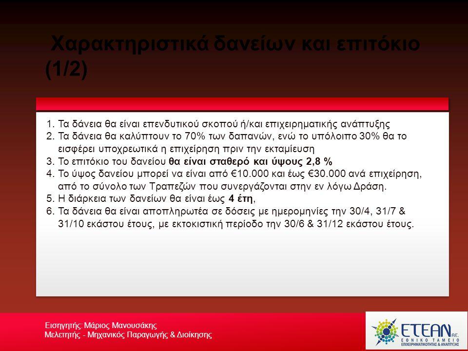Χαρακτηριστικά δανείων και επιτόκιο (2/2) Your own footerYour Logo Εισηγητής: Μάριος Μανουσάκης Μελετητής - Μηχανικός Παραγωγής & Διοίκησης 1.Ο δανειολήπτης δεν θα επιβαρύνεται με έξοδα διαχείρισης φακέλου ή λοιπά κόστη της τραπεζικής εξυπηρέτησης 2.Κάθε επιλέξιμη επιχείρηση που δραστηριοποιείται σε οποιαδήποτε από τις επιλέξιμες δραστηριότητες (ΚΑΔ).