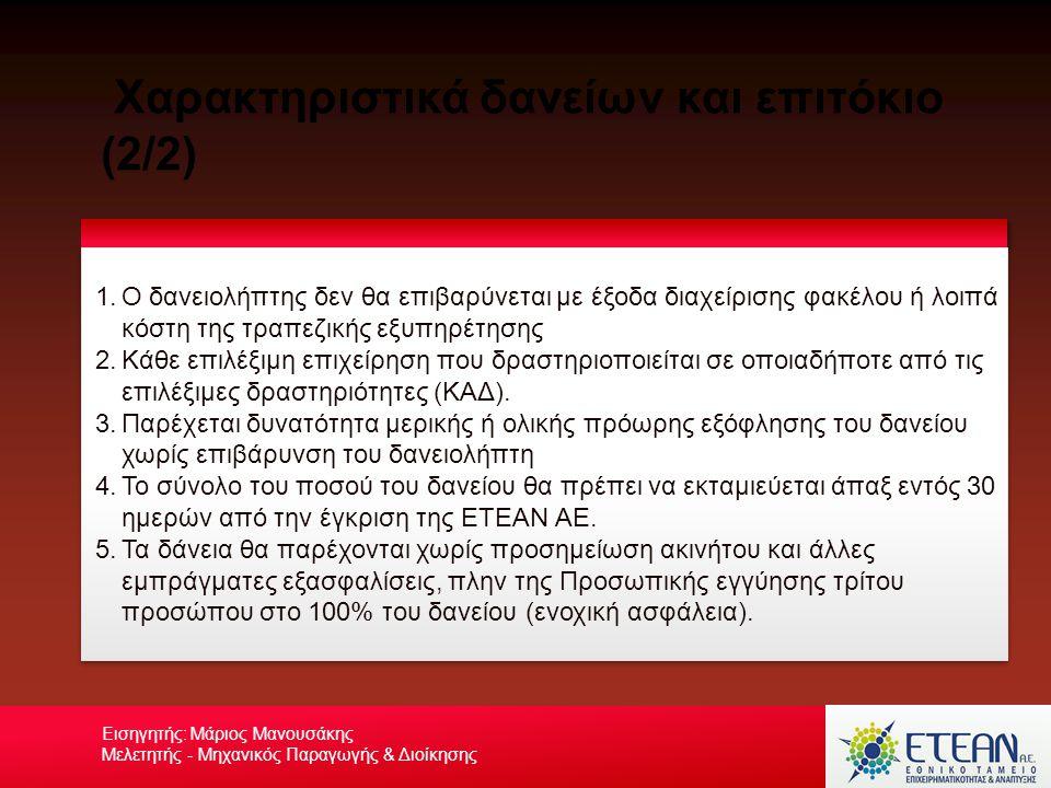 Χαρακτηριστικά δανείων και επιτόκιο (2/2) Your own footerYour Logo Εισηγητής: Μάριος Μανουσάκης Μελετητής - Μηχανικός Παραγωγής & Διοίκησης 1.Ο δανειο