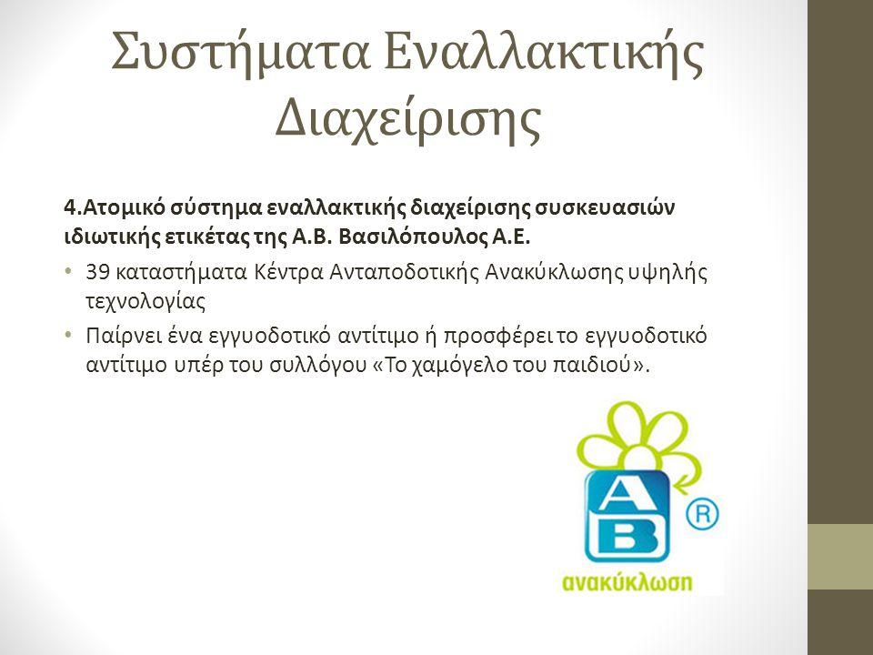 Συστήματα Εναλλακτικής Διαχείρισης 4.Ατομικό σύστημα εναλλακτικής διαχείρισης συσκευασιών ιδιωτικής ετικέτας της Α.Β. Βασιλόπουλος Α.Ε. • 39 καταστήμα