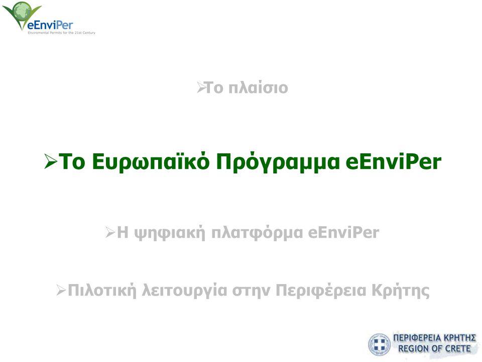  Το πλαίσιο  Το Eυρωπαϊκό Πρόγραμμα eEnviPer  H ψηφιακή πλατφόρμα eEnviPer  Πιλοτική λειτουργία στην Περιφέρεια Κρήτης