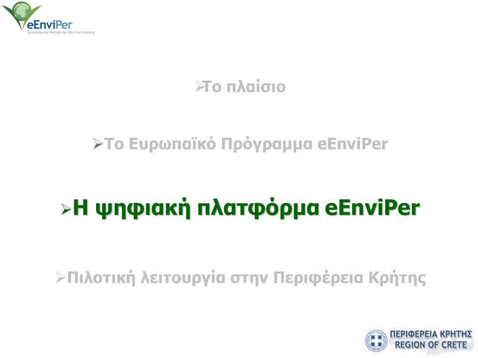  Το πλαίσιο  Το Eυρωπαϊκό Πρόγραμμα eEnviPer H ψηφιακή πλατφόρμα eEnviPer  H ψηφιακή πλατφόρμα eEnviPer  Πιλοτική λειτουργία στην Περιφέρεια Κρήτη