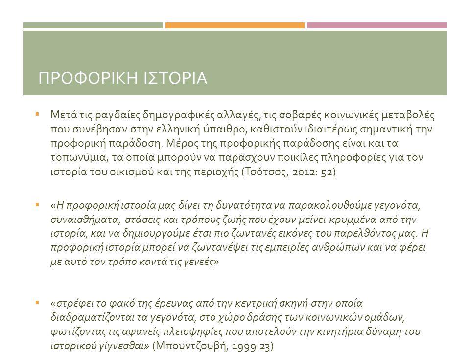 ΠΡΟΦΟΡΙΚΗ ΙΣΤΟΡΙΑ  Μετά τις ραγδαίες δημογραφικές αλλαγές, τις σοβαρές κοινωνικές μεταβολές που συνέβησαν στην ελληνική ύπαιθρο, καθιστούν ιδιαιτέρως