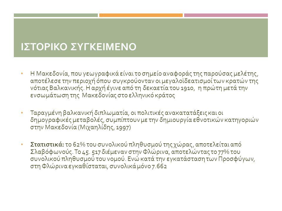 ΙΣΤΟΡΙΚΟ ΣΥΓΚΕΙΜΕΝΟ • Η Μακεδονία, που γεωγραφικά είναι το σημείο αναφοράς της παρούσας μελέτης, αποτέλεσε την περιοχή όπου συγκρούονταν οι μεγαλοϊδεα