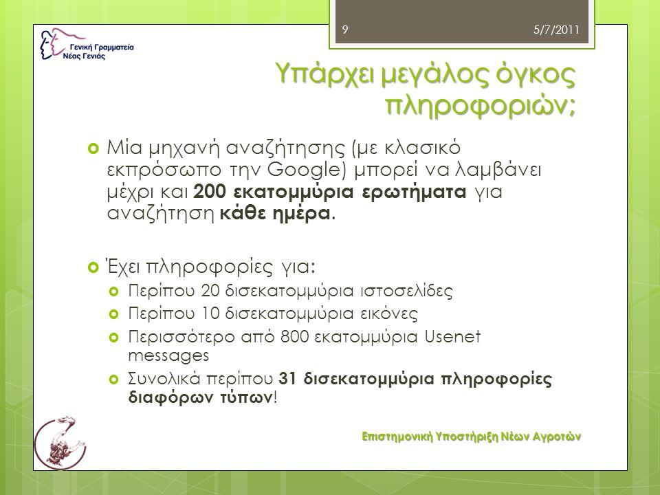 Υπάρχει μεγάλος όγκος πληροφοριών;  Μία μηχανή αναζήτησης (με κλασικό εκπρόσωπο την Google) μπορεί να λαμβάνει μέχρι και 200 εκατομμύρια ερωτήματα γι