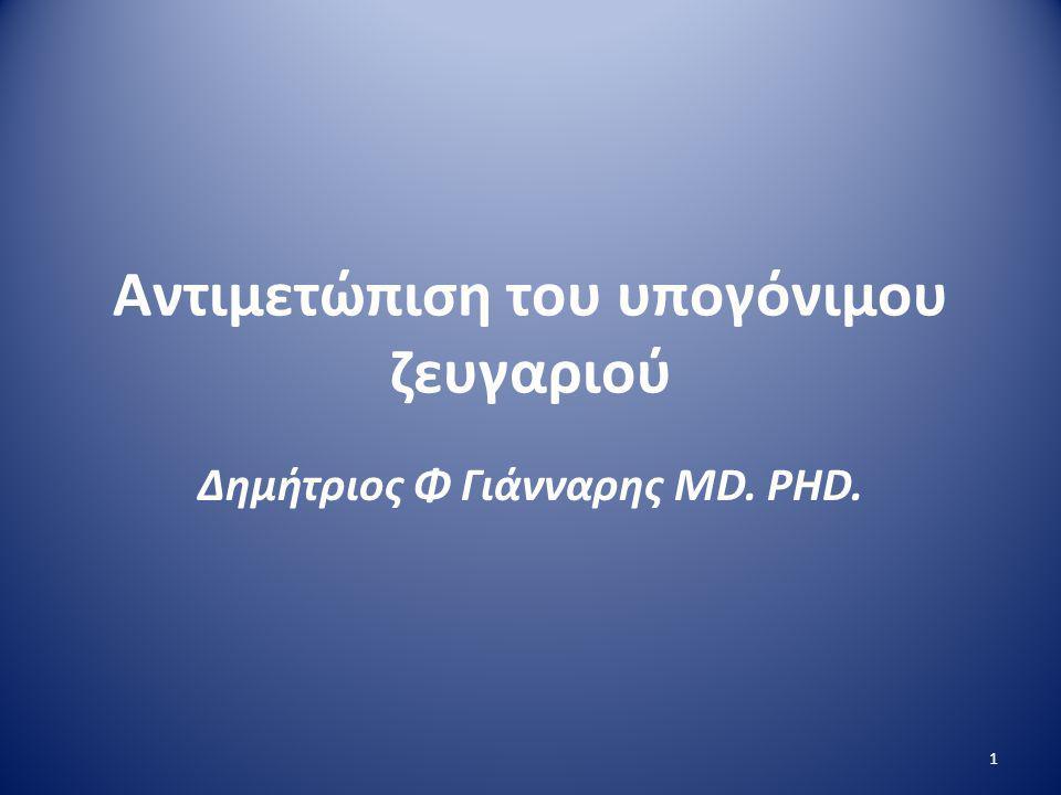 Αντιμετώπιση του υπογόνιμου ζευγαριού Δημήτριος Φ Γιάνναρης MD. PHD. 1
