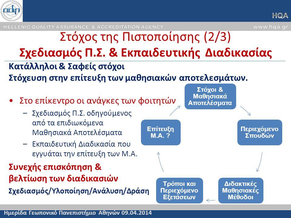 Στόχος της Πιστοποίησης (2/3) Σχεδιασμός Π.Σ.